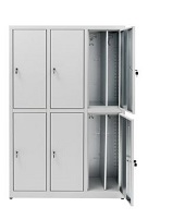 Overlapping locker cabinets save space