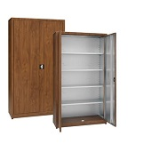Cabinets for objects with hinged doors
