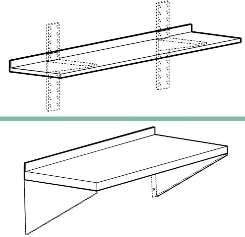 Accessories for wall-mounted shelves