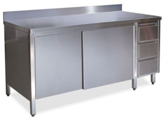 Cabinets with doors on 1 side with upstand and right drawers