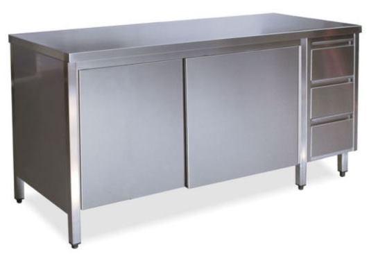 Tavoli armadi con porte su un lato con cassettiera DX
