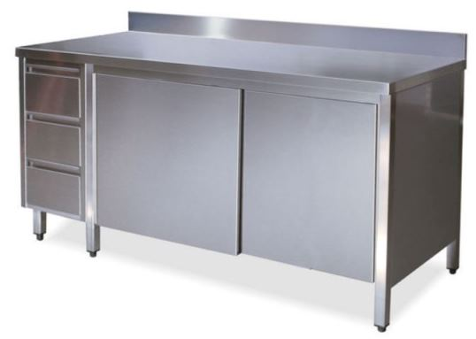 Cabinets with doors with upstand and left drawer