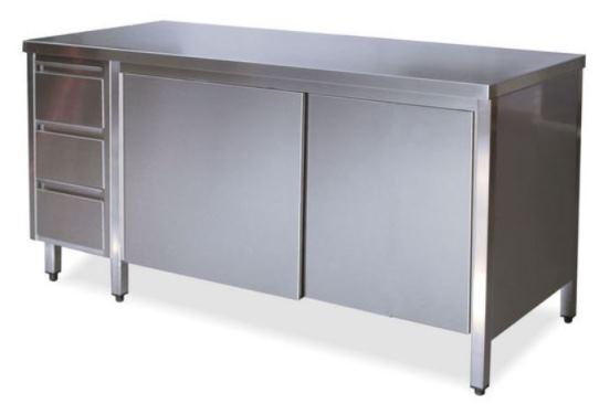 Tavoli armadi con porte su un lato con cassettiera SX
