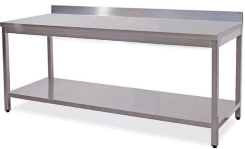 Work tables on legs and shelf with upstand