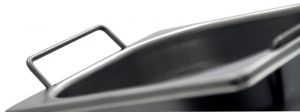 GST1/2P100M Récipient Gastronorm 1 / 2 H100 avec des poignées en acier inox AISI 304