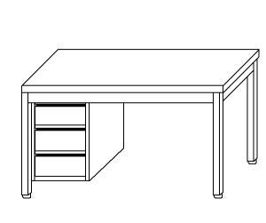 TL5227 Tavolo da lavoro in acciaio inox AISI 304 cassettiera sx 70x70x85