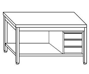 TL5265 Tavolo da lavoro in acciaio inox AISI 304 cassettiera dx ripiano 130x70x85