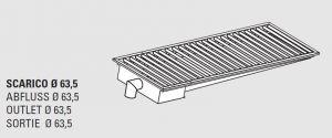 85110.20 Piletta sifonata a pavimento da cm 200x40x12h con filtro e scarico verticale laterale