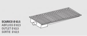 85011.22 Piletta sifonata a pavimento da cm 220x30x12h con filtro e scarico orizzontale laterale