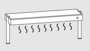 64011.14 Ripiano di appoggio tavoli 1 ripiano caldo 2 gambe cm 140x35x40h