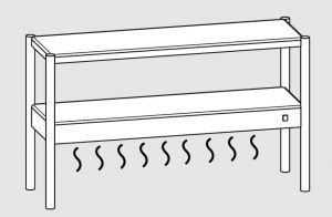 64101.14 Ripiano di appoggio tavoli 1 ripiano sup neutro cm 140x35x70h 1 ripiano inf caldo