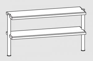 64110.14 Ripiano di appoggio tavoli 2 ripiani 2 gambe cm 140x35x70h