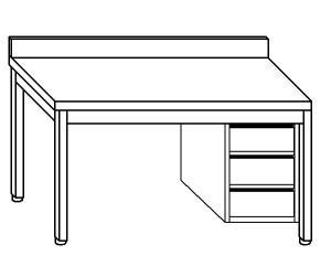 TL5307 Tavolo da lavoro in acciaio inox AISI 304 cassettiera dx alzatina ripiano 70x70x85