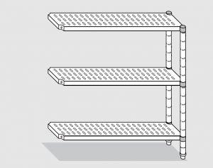 78923.10 Scaffale con 3 ripiani forati serie standard cm 100x30x150h kit laterale