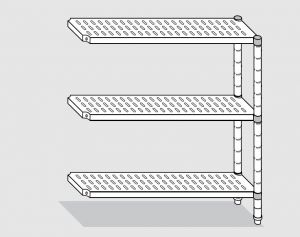 78923.12 Scaffale con 3 ripiani forati serie standard cm 120x30x150h kit laterale