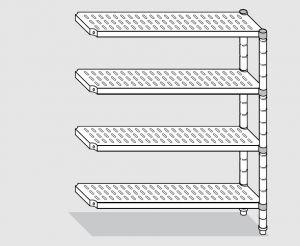 78823.10 Scaffale con 4 ripiani forati serie standard cm 100x30x200h kit laterale