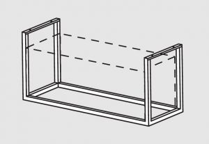 66001.19 Supporto pensile a soffitto cm 198x40x140h