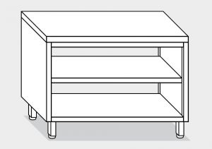 13002.15 Tavolo a giorno passante g40 cm 150x60x85h piano liscio - ripiano intermedio e di fondo