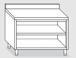 23001.13 Tavolo armadio a giorno agi cm 130x60x85h alzatina posteriore -ripiano intermedio e di fondo