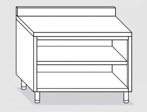 23101.13 Tavolo armadio a giorno agi cm 130x70x85h alzatina posteriore -ripiano intermedio e di fondo