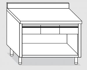 23004.15 Tavolo armadio a giorno agi cm 150x60x85h alzatina posteriore - 3 cassetti orizzontali