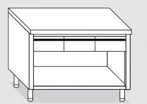 23003.15 Tavolo armadio a giorno agi cm 150x60x85h piano liscio - 3 cassetti orizzontali