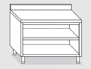23101.15 Tavolo armadio a giorno agi cm 150x70x85h alzatina posteriore -ripiano intermedio e di fondo