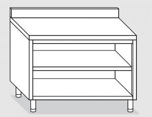 23001.16 Tavolo armadio a giorno agi cm 160x60x85h alzatina posteriore -ripiano intermedio e di fondo