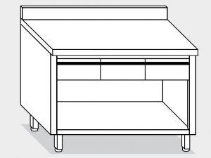 13004.14 Tavolo armadio a giorno g40 cm 140x60x85h alzatina posteriore - 3 cassetti orizzontali