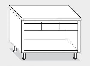 13003.15 Tavolo armadio a giorno g40 cm 150x60x85h piano liscio - 3 cassetti orizzontali