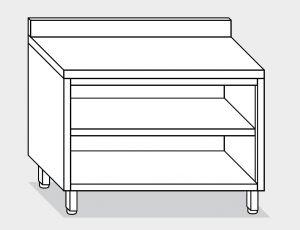 13001.16 Tavolo armadio a giorno g40 cm 160x60x85h alzatina posteriore- ripiano intermedio e di fondo