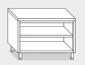 13000.19 Tavolo armadio a giorno g40 cm 190x60x85h piano liscio - ripiano intermedio e di fondo