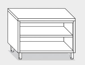 13000.20 Tavolo armadio a giorno g40 cm 200x60x85h piano liscio - ripiano intermedio e di fondo