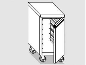46300.08 Tavolo armadio agi 2 p/battenti teglie gn1/1 ruote cm 80x70x84h