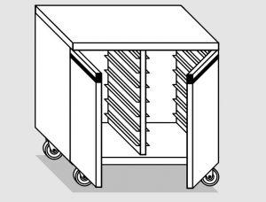 46800.08 Tavolo armadio agi 2 p/battenti teglie gn1/1 ruote cm 80x70x84h