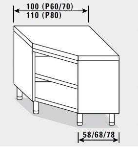 23504.11 Tavolo armadio agi ad angolo cm 110x80x85h piano liscio - a giorno