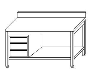 TL5377 Tavolo da lavoro in acciaio inox AISI 304 cassettiera sx alzatina ripiano 130x70x85