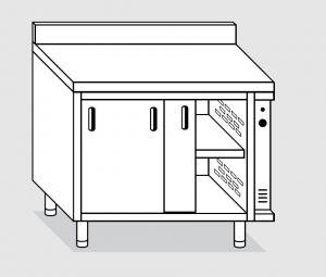 23601.12 Tavolo armadio caldo agi cm 120x60x85h alzatina posteriore - porte scorrevoli