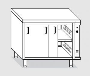 23600.15 Tavolo armadio caldo agi cm 150x60x85h piano liscio - porte scorrevoli