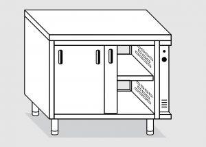 23702.16 Tavolo armadio caldo agi cm 160x70x85h piano liscio - porte su due lati- 2 unita' calde