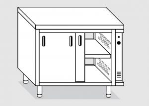 23602.18 Tavolo armadio caldo agi cm 180x60x85h piano liscio - porte su due lati - 2 unita' calde