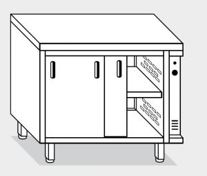 13702.14 Tavolo armadio caldo g40 cm 140x70x85h piano liscio - porte scorrevoli su due lati