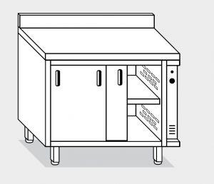 13701.15 Tavolo armadio caldo g40 cm 150x70x85h alzatina posteriore - porte scorrevoli