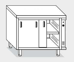 13700.16 Tavolo armadio caldo g40 cm 160x70x85h piano liscio - porte scorrevoli - 2 unita' calde