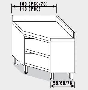 13402.10 Tavolo armadio g40 ad angolo cm 100x60x85h piano liscio - porta a battente
