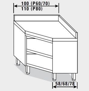 13501.10 Tavolo armadio g40 ad angolo cm 100x70x85h alzatina posteriore - a giorno