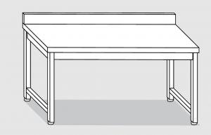 30001.16 Tavolo su 4 gambe past cm 160x80x85h alzatina posteriore-senza ripiano inferiore