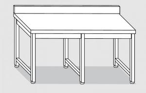 30101.28 Tavolo su 6 gambe past cm 280x90x85h alzatina posteriore-senza ripiano inferiore