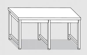 30100.30 Tavolo su 6 gambe past cm 300x90x85h piano liscio-senza ripiano inferiore