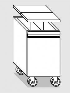 18078.46 Tramoggia carrellata con divisorio da cm 45x65x76h completa di coperchio
